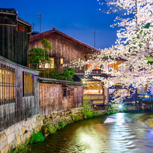 Japan, Kyoto - at the Shirakawa River in the Gion District