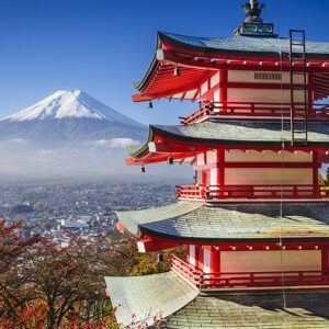 Japan, Mt. Fuji and Pagoda during the fall season in Japan.