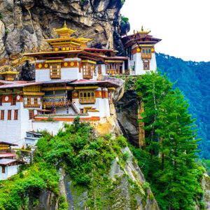 Bhutan - Taktshang Goemba(Tiger's Nest Monastery), Monastery, Bhutan, in a mountain cliff.