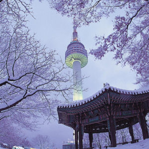 Seoul Tower under snow