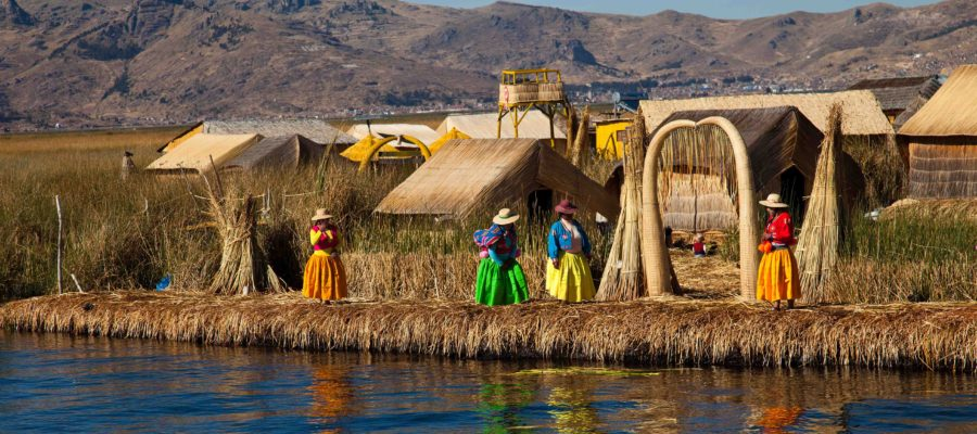 The floating and tourist Islands of lake Titicaca Puno Peru