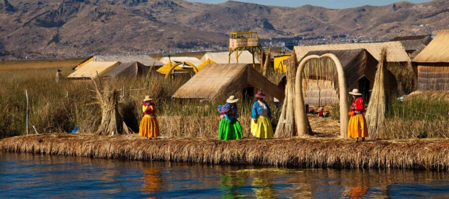S-The floating and tourist Islands of lake Titicaca Puno Peru